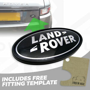 Genuine black+silver rear tailgate badge for Range Rover P38 boot + template