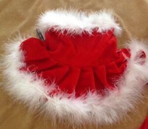 Mrs. Santa Claus Dress For Dogs,Pets w/Marabou Trim,Christmas