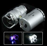 60X Mini Handheld LED Light Glass Pocket Microscope Jewelry Magnifier Lens Loupe