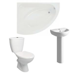 Corner Bath Basin Toilet Bathroom Suite Tub Right Left Hand 1500mm Acrylic Panel