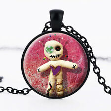 Voodoo Doll Photo Glass Dome black Chain Pendant Necklace