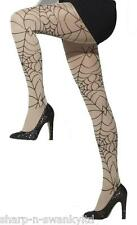 Ladies Sexy Nude & Black Spiderweb Opaque Halloween Fancy Dress Costume Tights