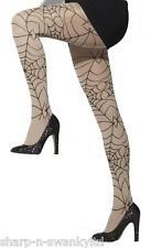 Ladies Sexy Nude & Black Spiderweb Opaque Halloween Fancy Dress Costume Tights