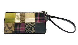 Coach Patchwork Zipped Wristlet Wallet Multi Colored With Brown Trim Plaid