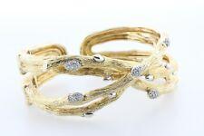 Stephen Dweck Diamond Gold Clad Sterling Silver 925 Fortuna Branch Cuff Bracelet