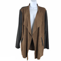 Travelers Collection By Chico's Open Cardigan Jacket Faux Suede Women's Size 3