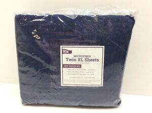 OCM Microfiber Blue Twin XL Sheets Set of 3 Navy