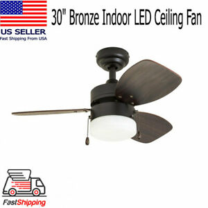 30 Small Room Bronze Indoor Led Ceiling Fan Light Chocolate Maple Walnut Blade Ebay