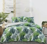 NightComfort Tropical Green Palm Leaf Duvet Cover & Pillow Cases Bedding Set