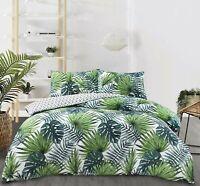 NightComfort Tropical Green Palm Leaf Duvet Cover & Pillow Cases Bedding Set