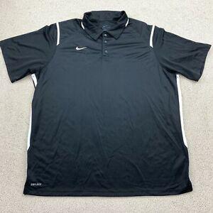 Nike Dri-Fit Golf Polo Shirt Men's 2XL XXL Short Sleeve Black 100% Polyester