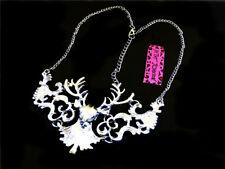 Betsey Johnson Enamel Silver deer Sweater Chain Necklace