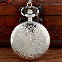 New Antique Vintage Space Time Pocket Watch Quartz Pendant Necklace Chain Silver