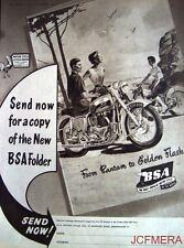 1954 Motor Cycle ADVERT - B.S.A. '650 Twin Golden Flash & 125 Bantam' Print AD