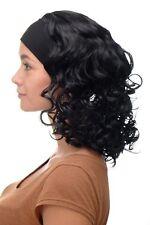 PERRUQUE pour femme bandeau volumineux Boucles NOIR NOIR PROFOND bro-704-1b