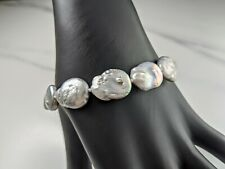 Lovely Kyoto Genuine grey Freshwater Pearl Bracelet with Sterling Silver Clasp