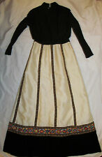 vintage 60's KENT ORIGINALS Russian princess gold embroidered maxi gypsy dress