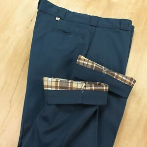 vtg usa DICKIES flannel lined work pants 39 x 29 (40 x 30 tag mechanic talon zip