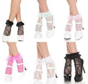 WOMEN'S Floral Vintage Frilly Lace Fashion Ankle Socks Frill Ruffle Top One Size