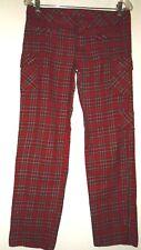 Womens Juniors Vintage Spill Scottish Tartan Red Plaid Dress Cargo Pants Sz 7/8