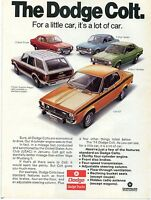 1974 Dodge Colt Sedan Hardtop Coupe Custom Wagon & GT Little Car Print Ad