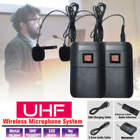 Portable UHF LCD Dual-Channel Wireless Microphone System USB With 2  ! u&