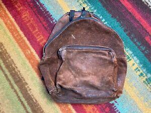 """Vintage 80s EASTPAK all leather dark brown suede backpack book bag 16"""" USA"""