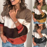 Loose Knitted Sweater Women Casual Autumn Winter Color Block Striped Sweaters