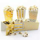 50X Popcorn Paper Box Treat Boxes Bags Candy Container Movie Favour Party Gold