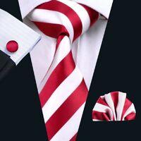 USA Classic Red White Stripe Mens Tie Silk Necktie Set Gift For Men Jacquard 242