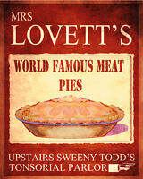Mrs Lovett's Worlds Famous Meat Pies VINTAGE ENAMEL METAL TIN SIGN WALL PLAQUE
