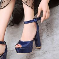 Women Block High Heels Slingback Buckle Sandals Chunky Peep Toe Party Prom Shoes