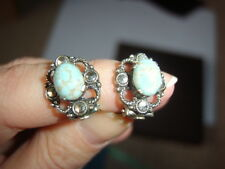 Vintage Antique Old Silver Tone Marcasite Turquoise Stone CLIP ON Earrings