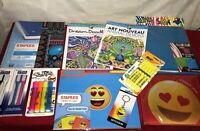 Fun Mixed Lot Home & School Office Supplies Notebooks Folders Highlighters Etc.