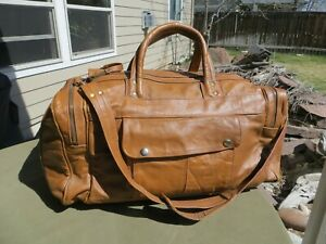 "HANDMADE TAN BROWN LEATHER DUFFLE CARRYON BAG OVERNIGHT WEEKENDER 18"" x 9"" x 9"""
