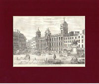 ANTIQUE WOODCUT  - NORTHUMBERLAND HOUSE -  CASSELL'S OLD & NEW LONDON(1880)