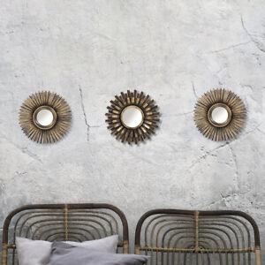 3pc Sunburst Wall Mirrors Bronze Effect Decorative Art Deco Vintage Round Home