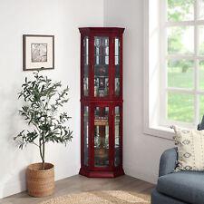 Lorona Floor Standing 5 Sided Lighted Corner Curio Cabinet, Cherry/ Walnut