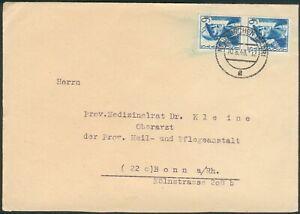 """SAAR Brief mit Mi.-Nr.247 MeF """"Wideraufbau"""" (MICHEL € 35,00) pracht"""