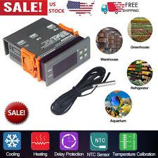 Mini Digital 110v Temp Controller Thermostat 58194 Fahrenheit Sensor 10a S9p2
