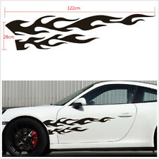 "2 Pcs Black Flame Emblem 11""X48"" Car Left+Right Body Decoration Stickers Decals"