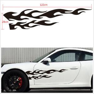 "2 Pcs Black Flame Emblem 11""X48"" Car Left+Right Body Decoration Stickers Decals"