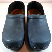 ECCO 39 Closed Back Clogs Danish Design Blue Leather Womens Shoes 8 - 8.5