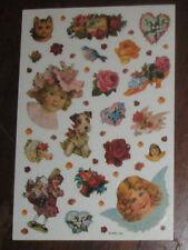 Victorian Children Cat Dog Flowers Angel Sticker Sheet Vintage