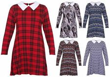 Viscose Long Sleeve Dresses for Women with Peter Pan Collar