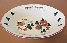 "PATTERN CHRISTMAS VILLAGE BY MASONS ENGLAND 9 3/4"" scalloped OVAL BOWL"