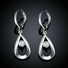 Fashion 925 Silver Zircon Stud Earrings Womens Jewellery Wedding Party Gift