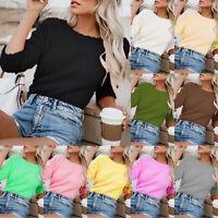 Damen Rundhals Wolle Sweater Langarm Sweatshirt Pullover Strickpullover Pulli 44