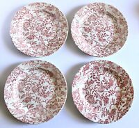 Set of 4 Vintage Churchill White Pink Peony Floral Dinner Plates England