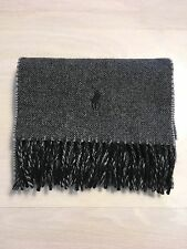 POLO RALPH LAUREN Charcoal Gray Black Wool Fringed Classic Winter Scarf